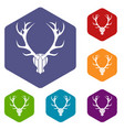 deer antler icons set vector image