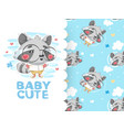 drawing cute raccoon with glasses and background vector image vector image