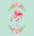 flamingo with place for baby name for poster print vector image vector image
