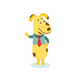 flat dog character in shirt with necktie vector image