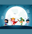 group of cartoon kids in halloween in the vector image vector image