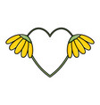 heart love with sunflowers pop art style vector image vector image