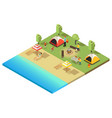 isometric camping and hiking template vector image vector image