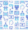 judaism seamless pattern with thin line icons vector image