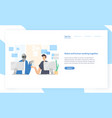 landing page template with funny robot and man vector image vector image