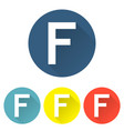 letter f in a flat on colored backgrounds vector image vector image
