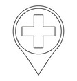 line art black and white hospital map sign vector image vector image