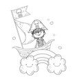 little pirate in boat with rainbow vector image