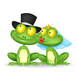 Married frog cartoon kissing vector image vector image