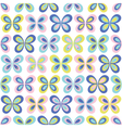 Multicolor geometric butterflies seamless pattern vector image