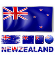 New Zealand flag in different designs and wording vector image vector image