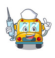 nurse school bus character cartoon vector image