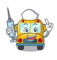 nurse school bus character cartoon vector image vector image
