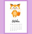october 2018 year calendar page vector image vector image
