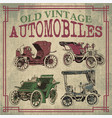 old vintage antique automobiles vector image