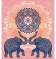 original indian pattern with two elephants vector image