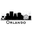 Orlando City skyline black and white silhouette vector image vector image