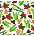 Peanuts coffee beans and peas seamless pattern vector image vector image