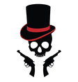 Pirate skull with two revolvers vector image vector image