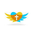 Religion logo with wings heart silhouette and