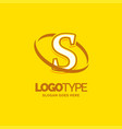 s logo template yellow background circle brand vector image vector image
