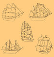 Sailboats sketch by hand pencil drawing by hand vector image