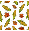 seamless pattern with corn and leaves vector image vector image