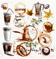 set from painted plastic glass with coffee vector image vector image