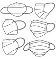 set hand drawn medical mask isolated on white vector image