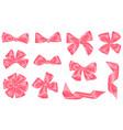 set pink satin gift bows and ribbons vector image