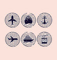 set seals arrival and transport vector image