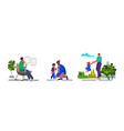 set young father spending time with his children vector image vector image