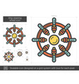 ship steering wheel line icon vector image vector image
