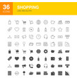 shopping line web glyph icons vector image