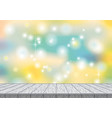 spring bokeh abstract background with wood desk