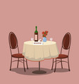 table for two reserved wine bottle and two vector image vector image