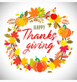 thanks giving wreath brush calligraphy vector image