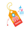 travel tag with plane template background south vector image vector image