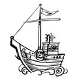 vintage stylize sketch sailing boat wooden vector image