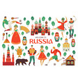 welcome to russia russian sights and folk art vector image vector image