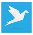white bird paper craft flying in frame art vector image vector image