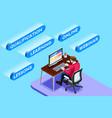 working online sitting man vector image vector image