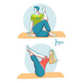 yoga time woman and man practicing yoga in vector image vector image