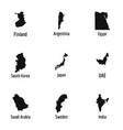 map of country icons set simple style vector image