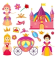 Cute fairytale princess pink carriage crown vector image