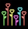 Neon hearts flowers vector image