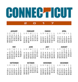 2017 Connecticut Calendar vector image