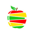 apple cutted into slices different colors apple vector image vector image