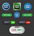 apply now buttons in different styles vector image vector image