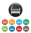baby crib icons set color vector image vector image